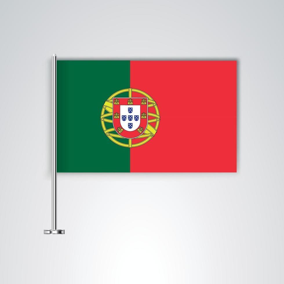 bandera de portugal con palo de metal vector