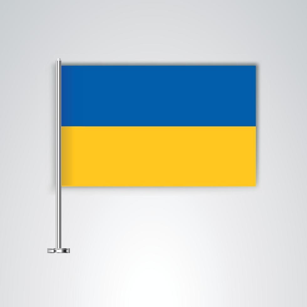 bandera de ucrania con palo de metal vector