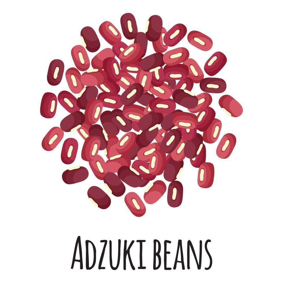 frijoles adzuki para el diseño, la etiqueta y el embalaje del mercado del agricultor de la plantilla. vector