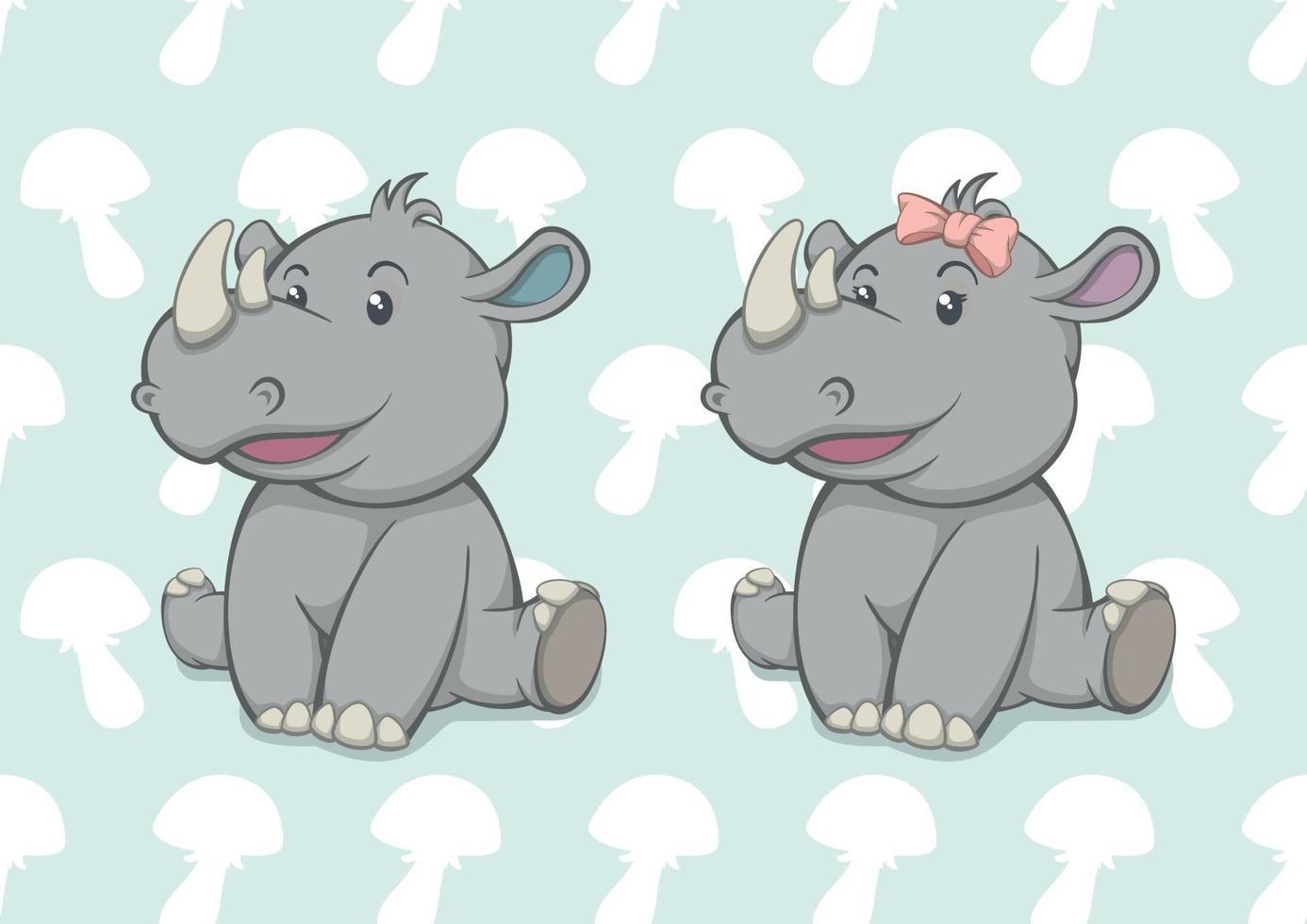 dibujos animados bebé rinoceronte niño y niña vector