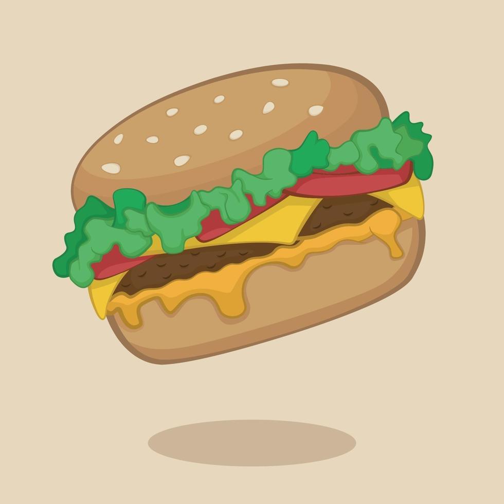 dibujos animados de hamburguesa con queso vector