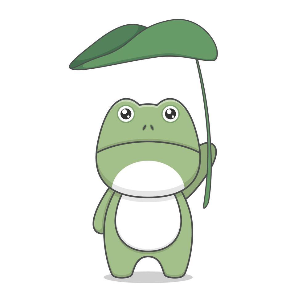 rana de dibujos animados lindo con paraguas de hojas vector
