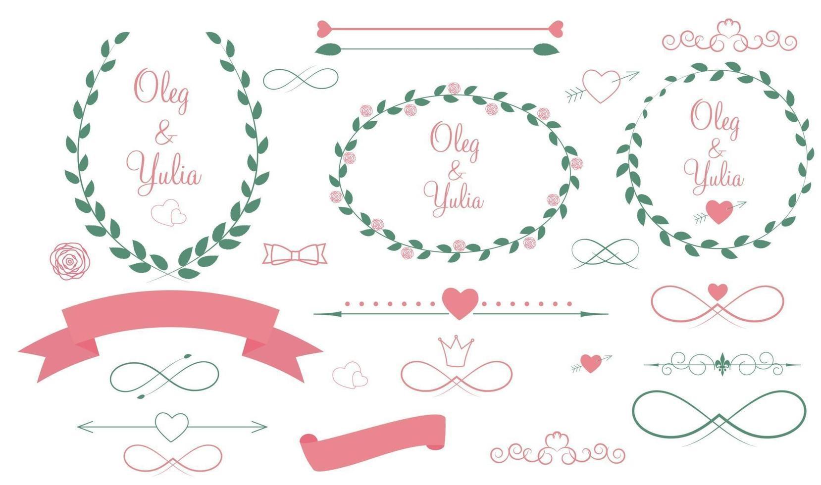 conjunto de elementos gráficos de boda con flechas, corazones y laurel vector