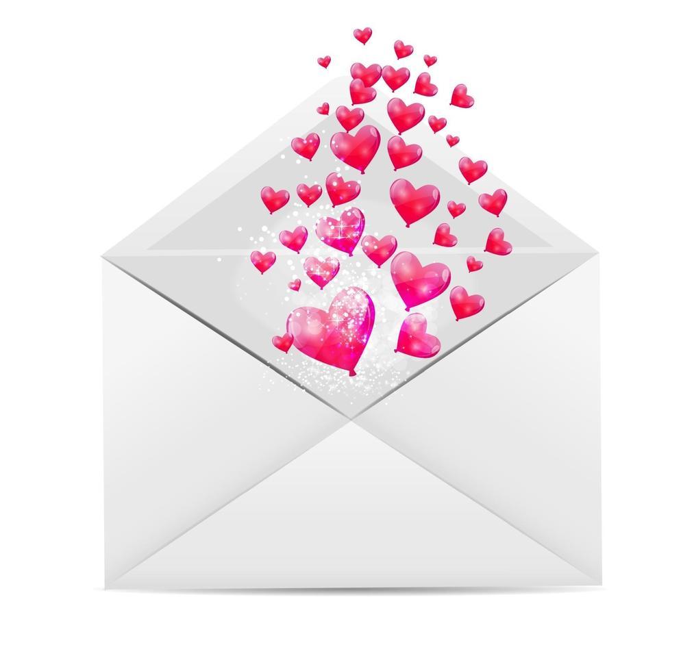 Tarjeta del día de San Valentín con sobre y corazón ilustración vectorial vector