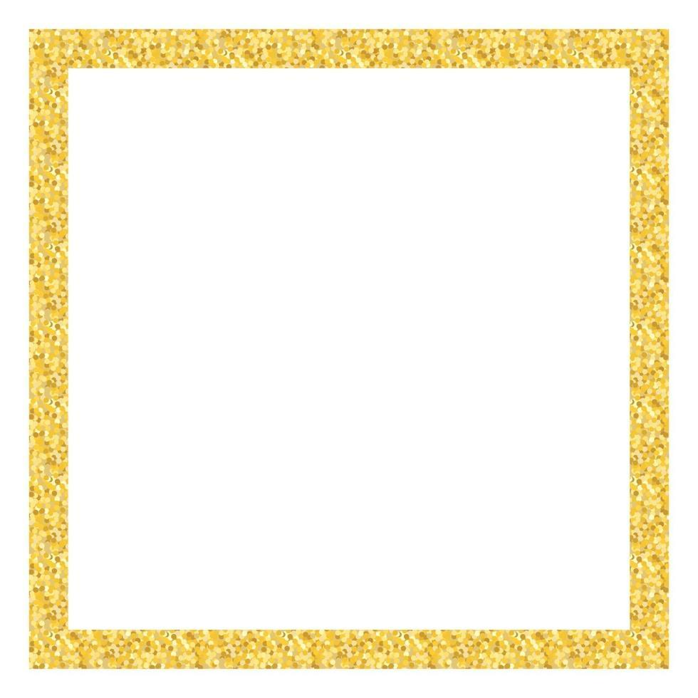marco dorado brillo cuadrado. vector