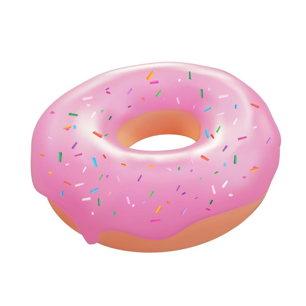 Realistic 3d sweet tasty donut. Vector illustration