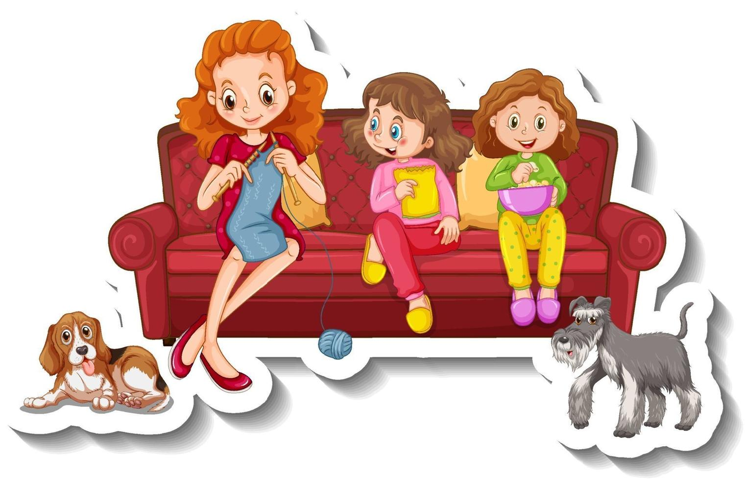 A sticker template with small family members sitting on sofa vector