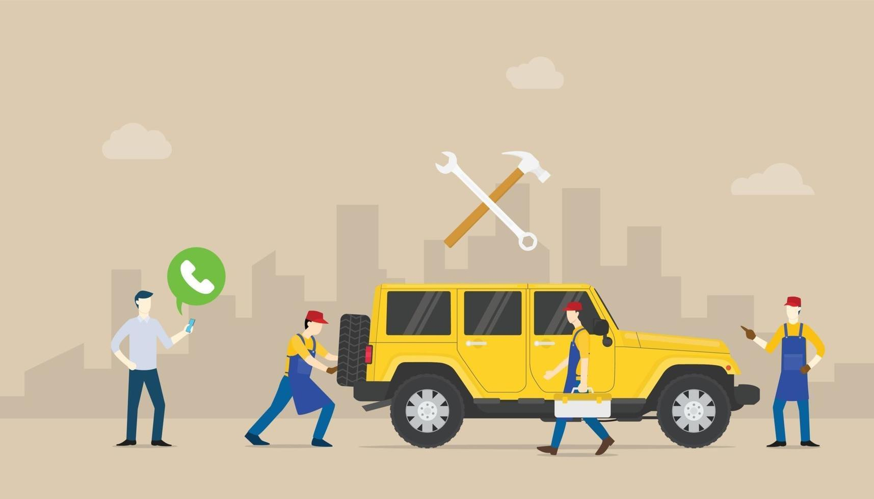 call car service auto mobile with team people of mechanical repair vector