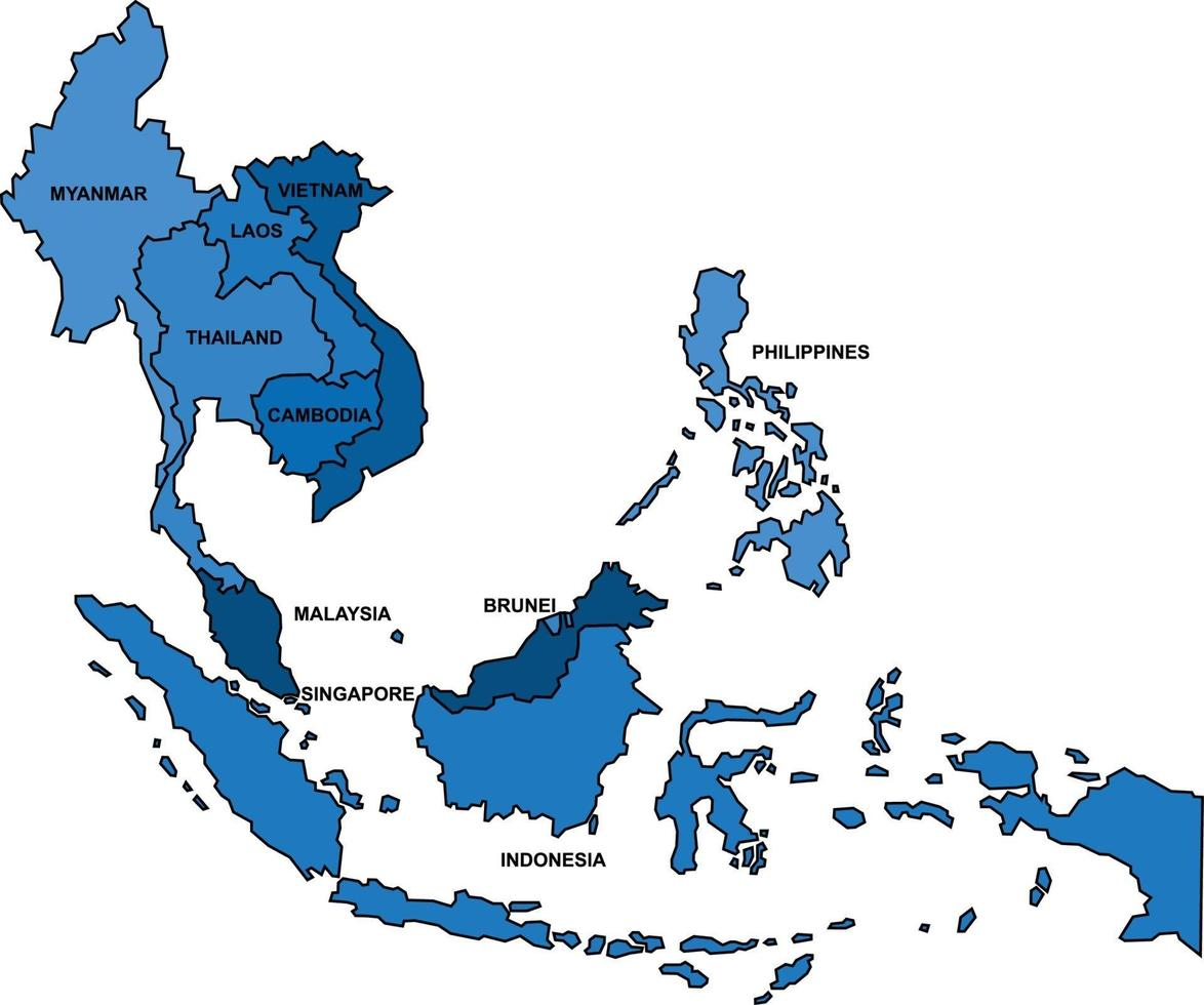 Blue outline South East Asia map on white background. vector