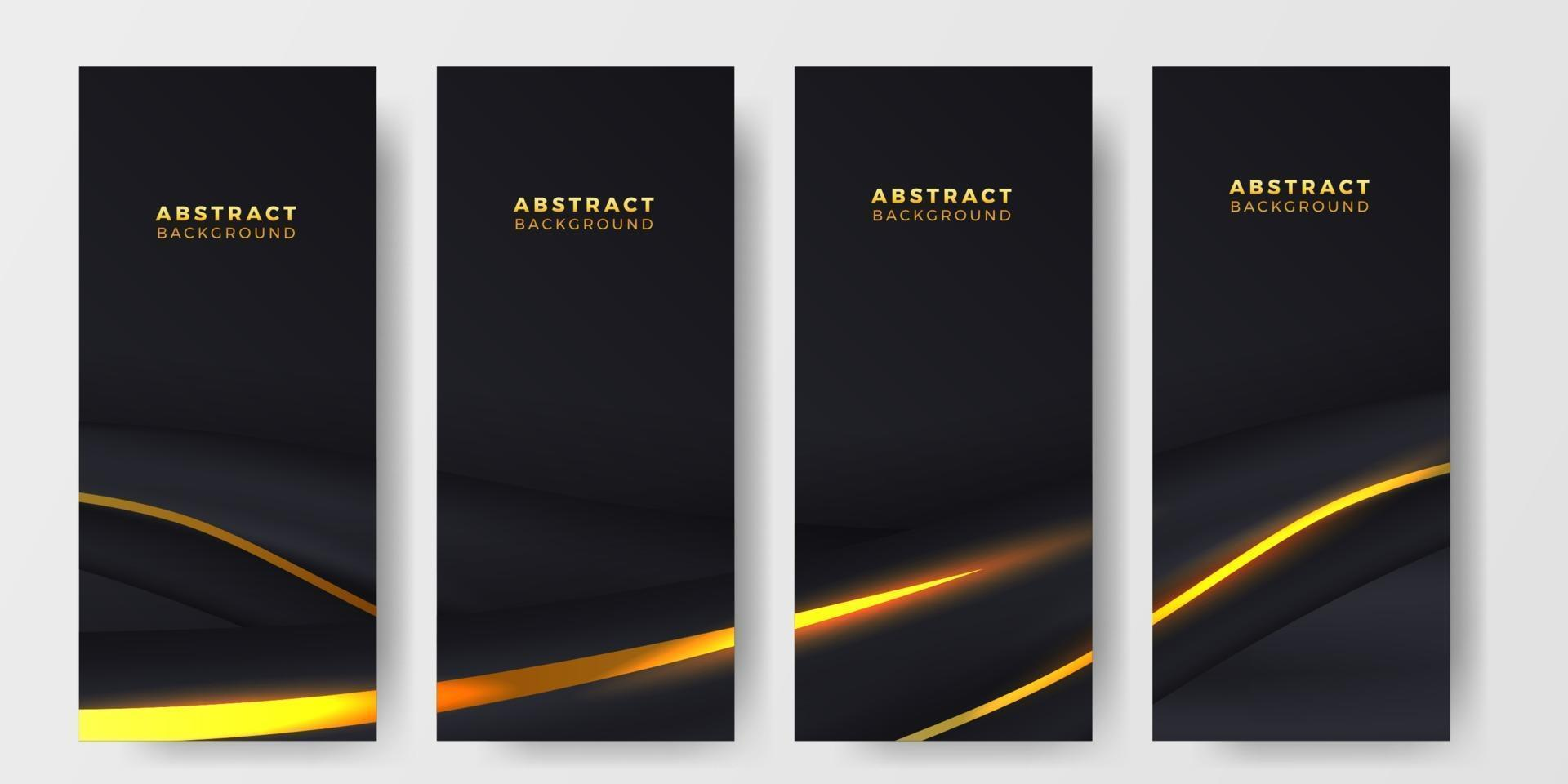 Plantilla de banner de cartel de historias de redes sociales elegante de lujo negro vector