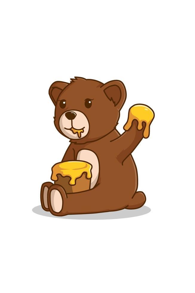 oso comiendo miel ilustración de dibujos animados vector