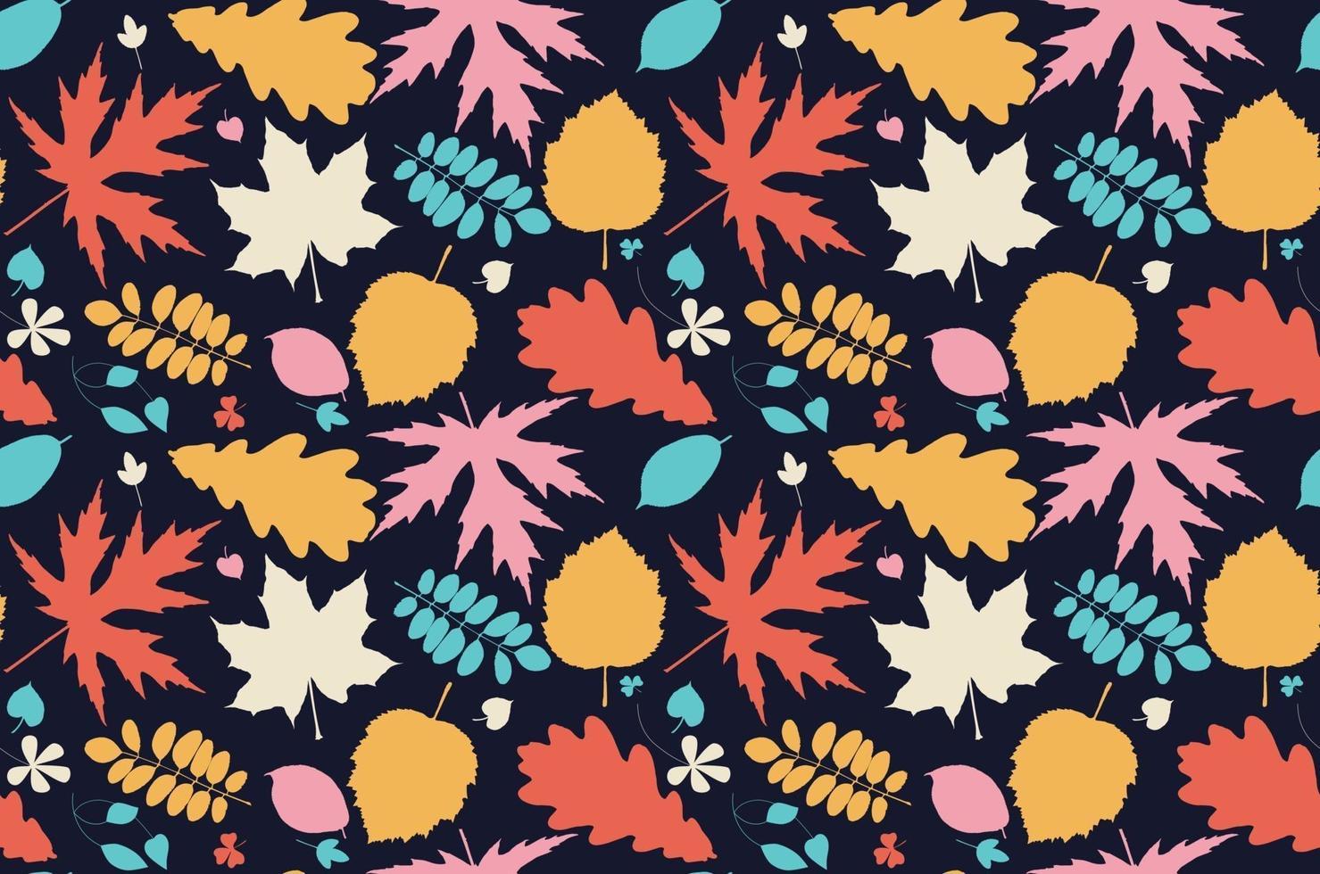 hoja de patrones sin fisuras. naturaleza. bosque. versión oscura. vector