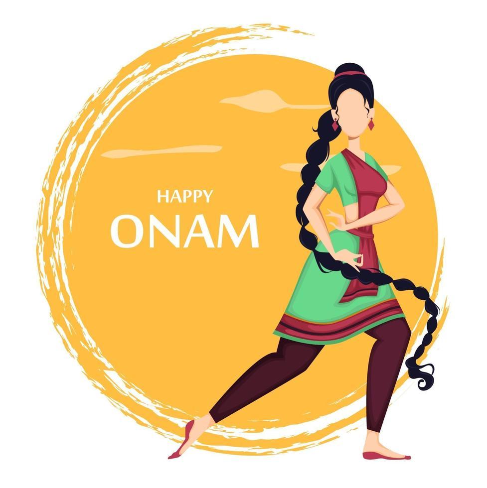 feliz onam. mujer india bailando vector