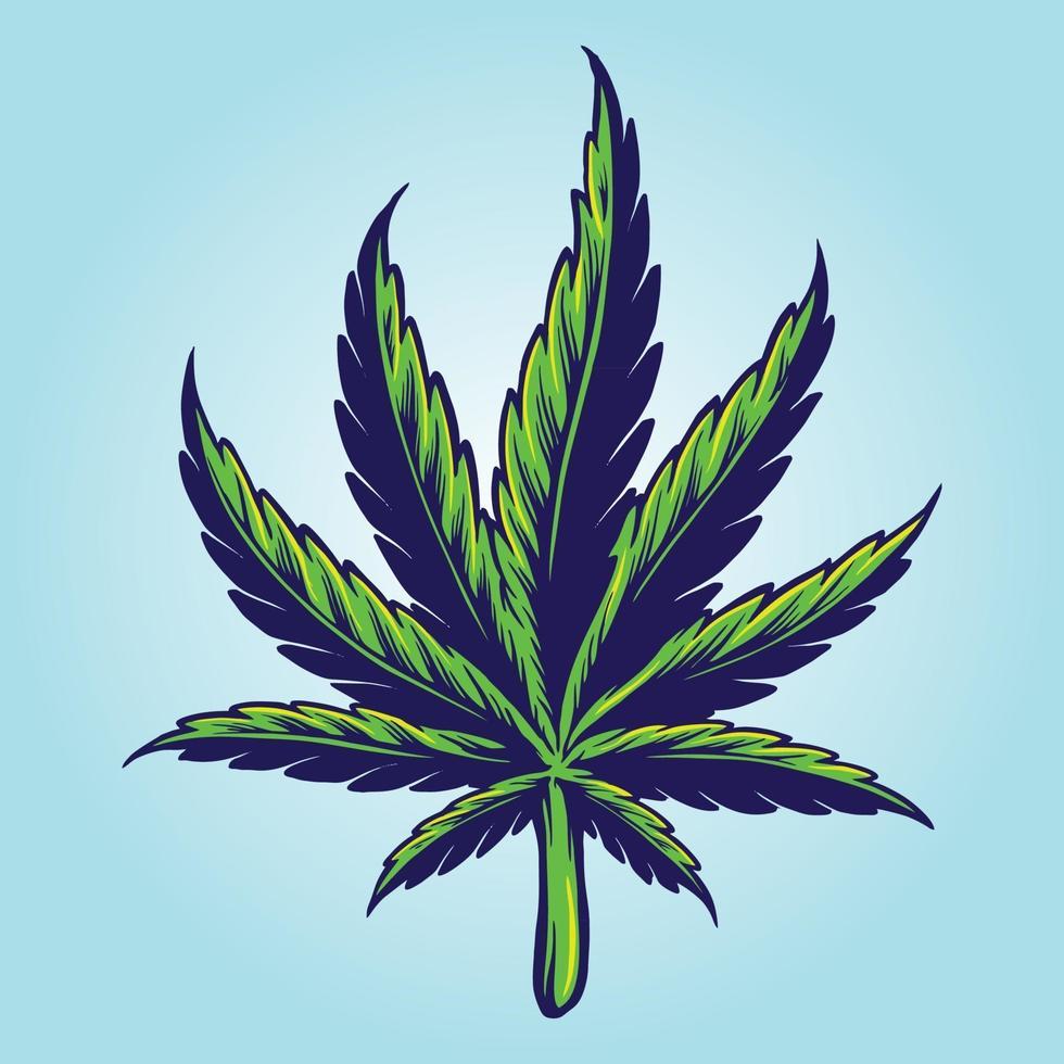 Medical Hand drawn Cannabis Leaf vector