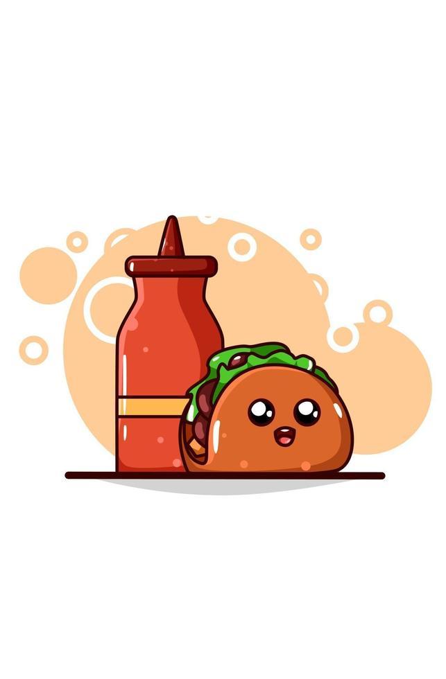 a cute taco with sauce vector