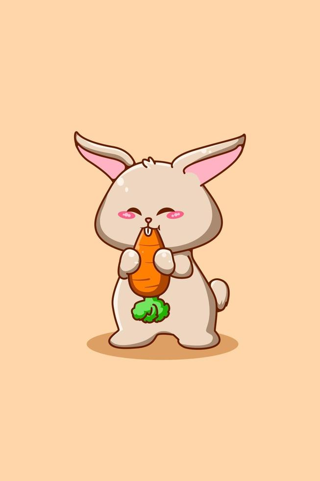 Cute and small rabbit with carrot animal cartoon illustration vector