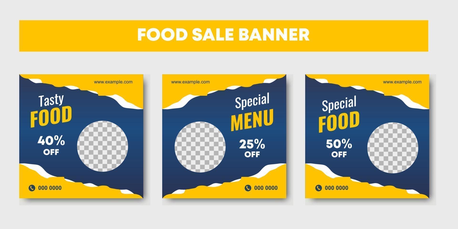 Set of restaurant culinary social media post template vector
