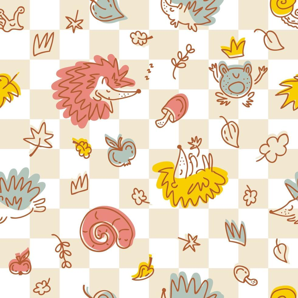 Seamless pattern of hedgehogs on a checkered background vector