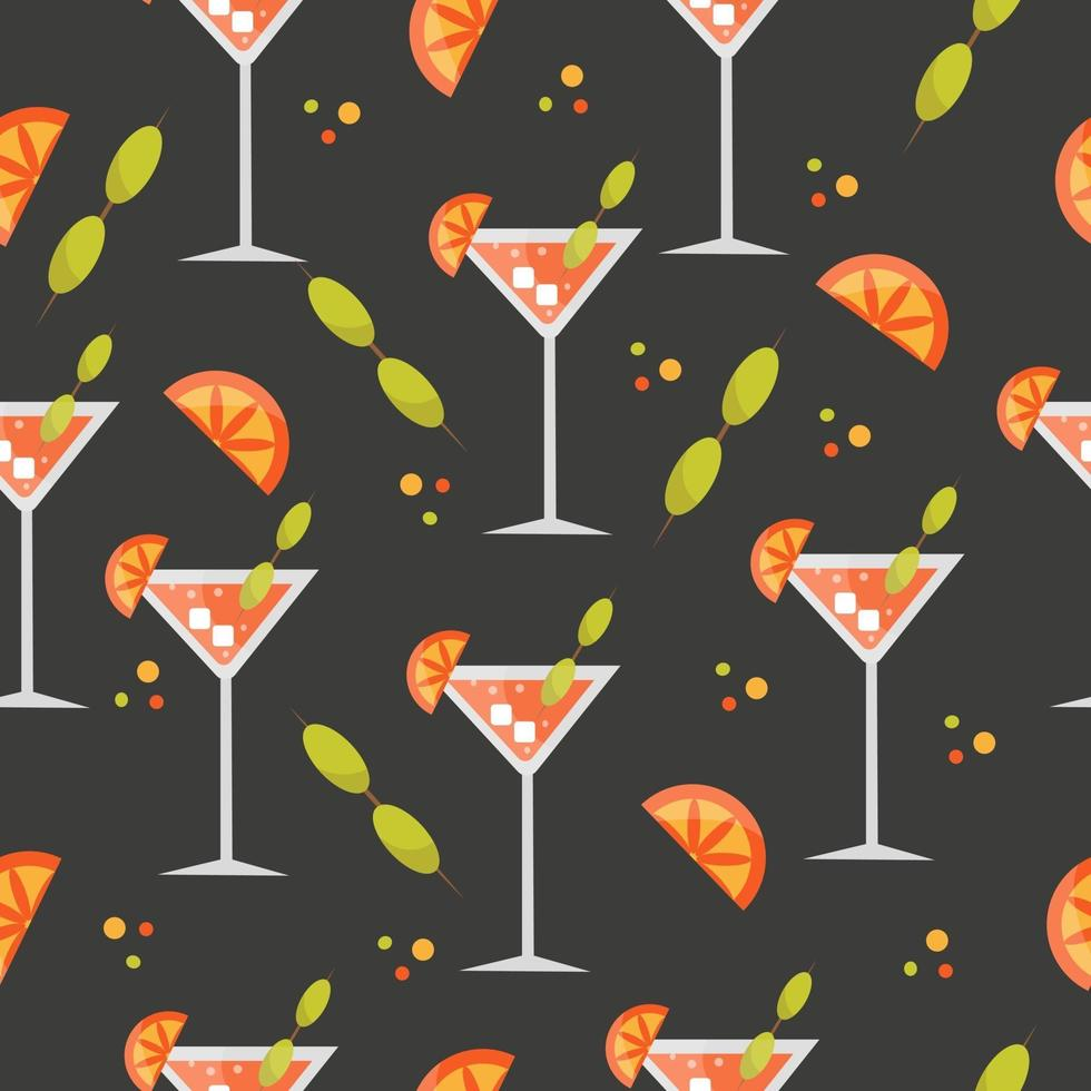 Seamless pattern with cocktail, orange, olive, ice vector