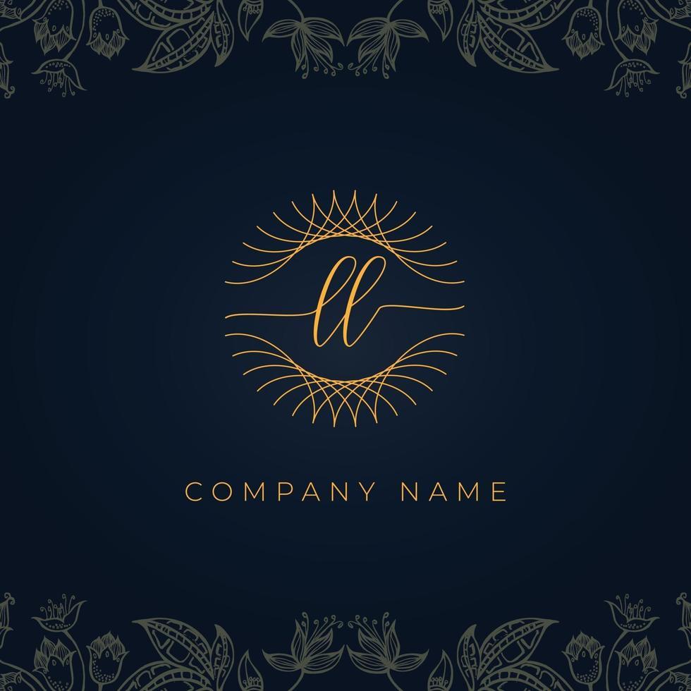 Elegant luxury letter LL logo. vector