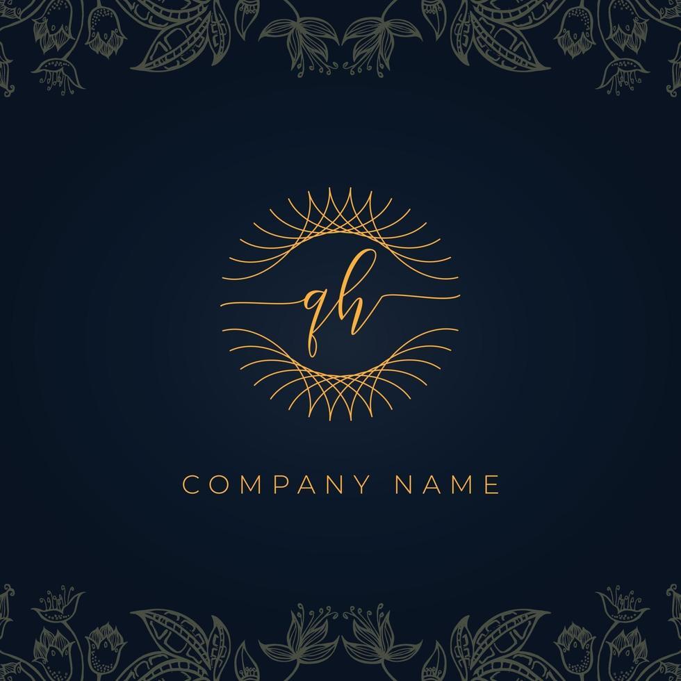 Elegant luxury letter QH logo. vector