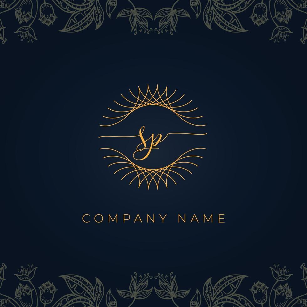 Elegant luxury letter SP logo. vector