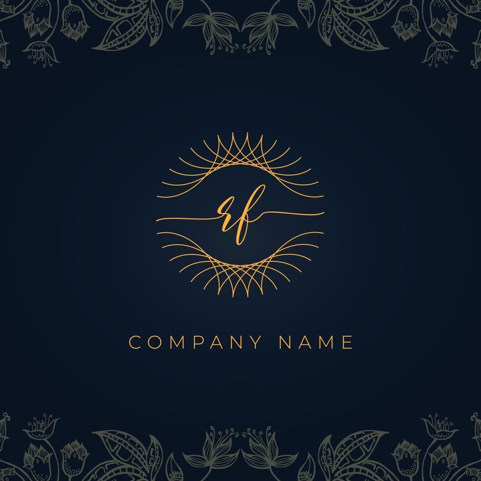 Elegant luxury letter RF logo. vector