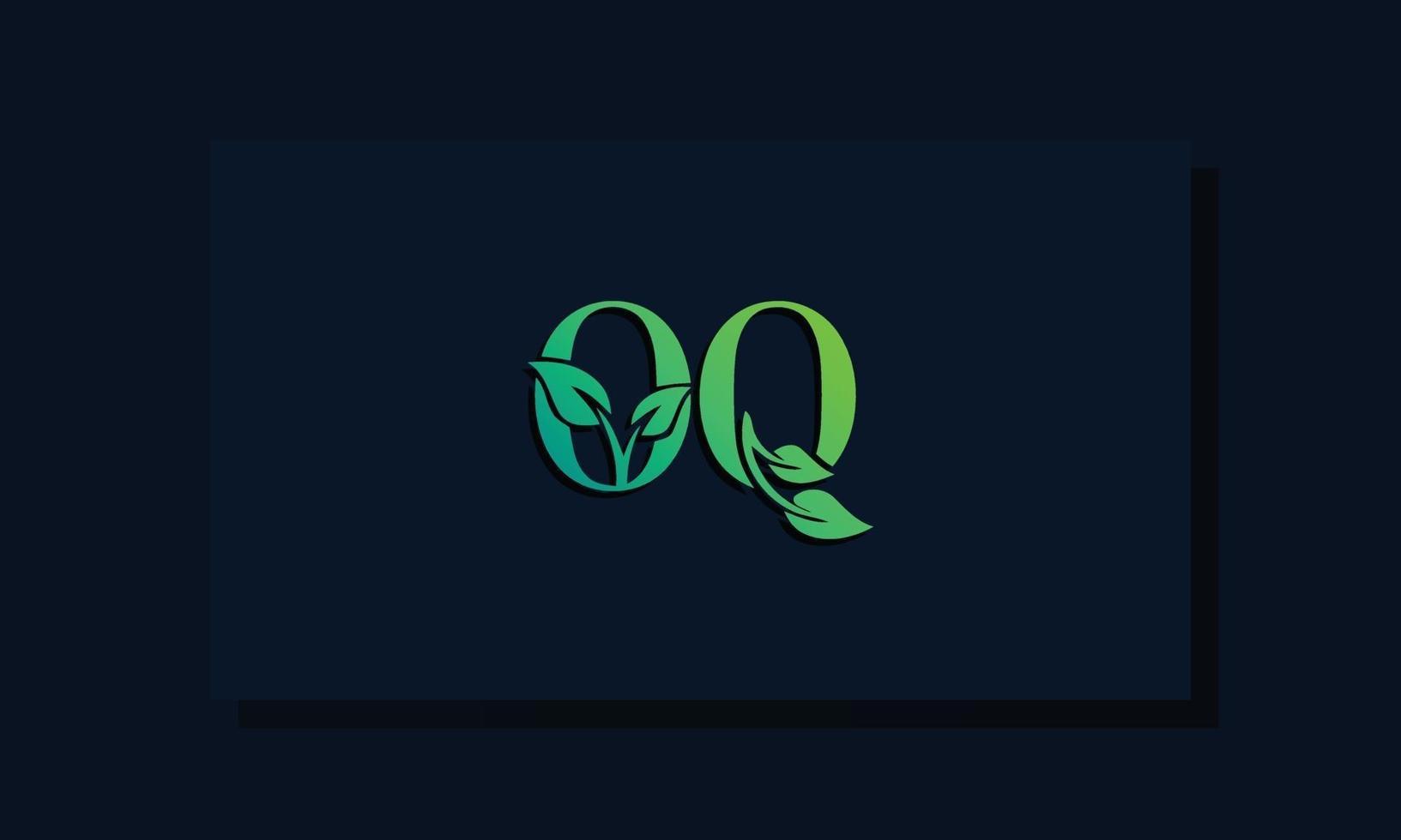 Minimal leaf style Initial OQ logo vector