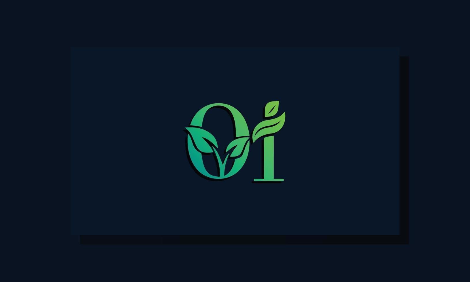 Minimal leaf style Initial OI logo vector
