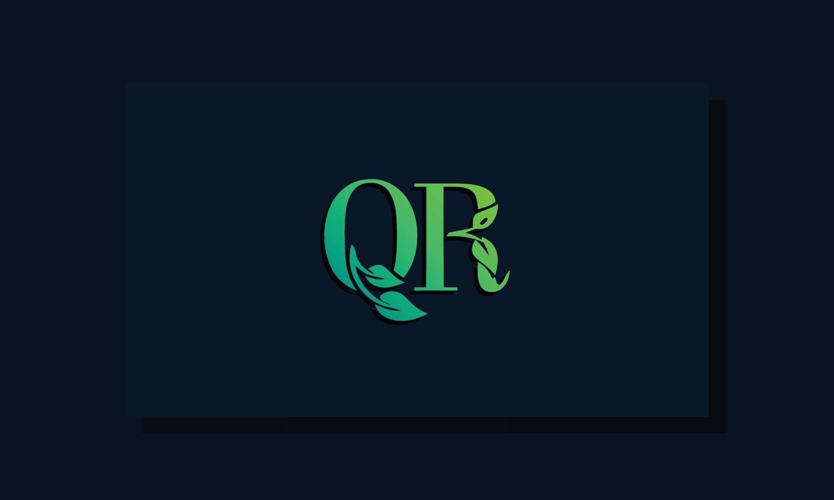 Minimal leaf style Initial QR logo vector