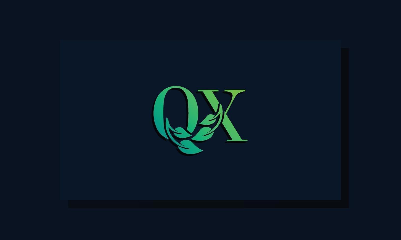 Minimal leaf style Initial QX logo vector