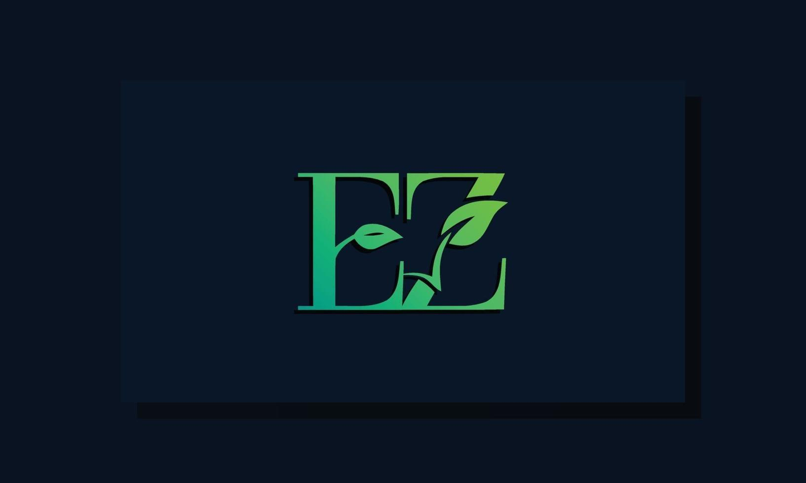 Minimal leaf style Initial EZ logo. vector