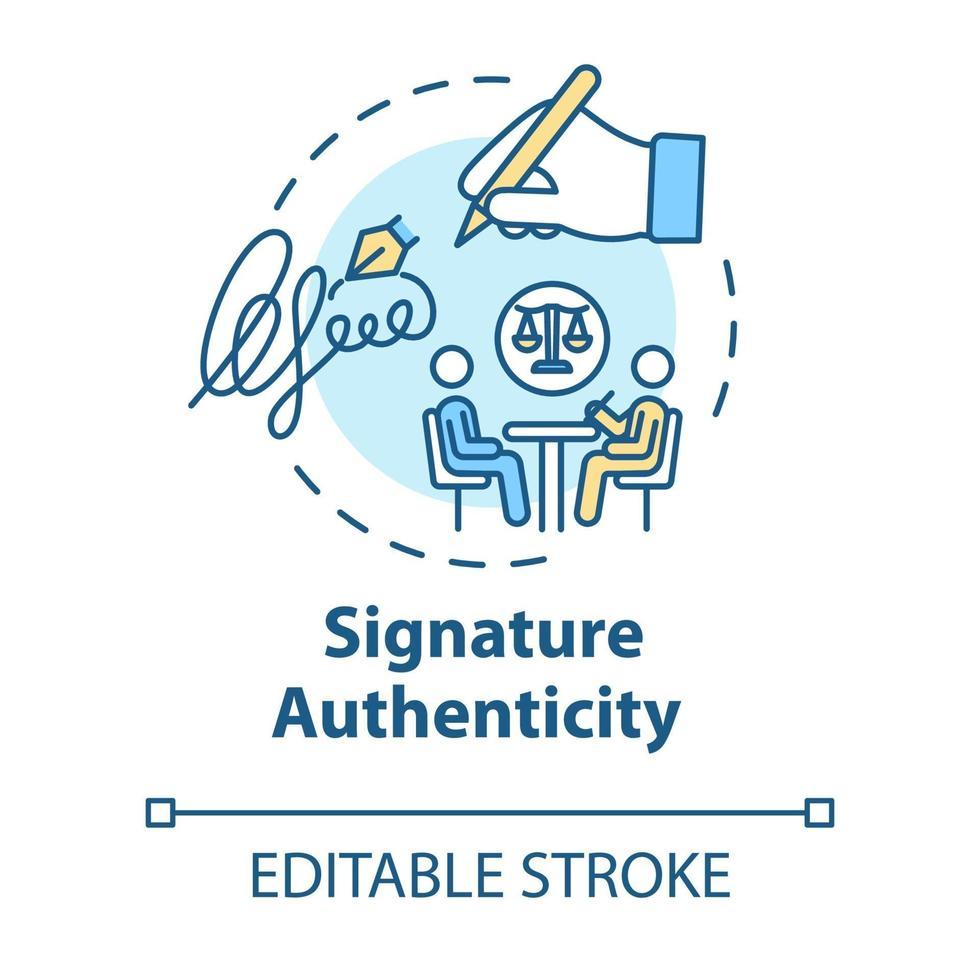 Signature authenticity concept icon vector