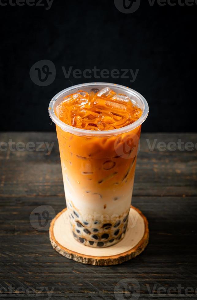 té con leche tailandés con burbuja foto