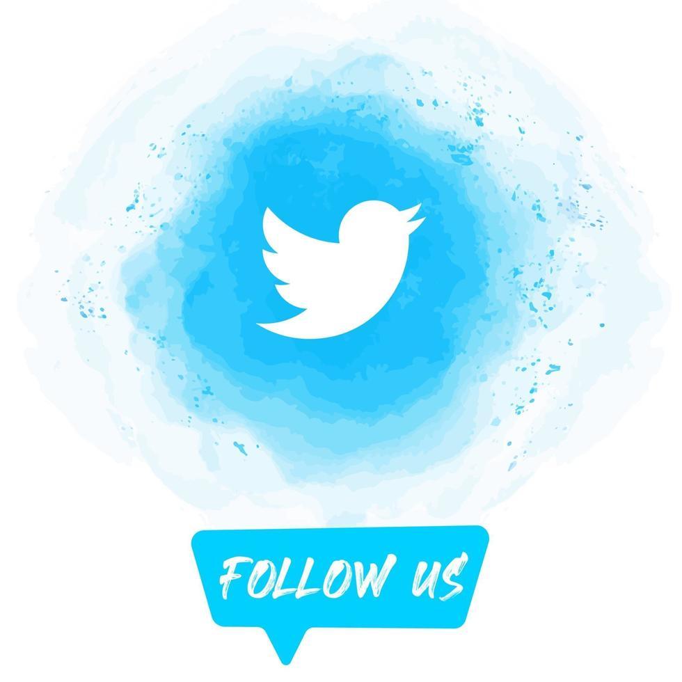 Watercolor Follow US Twitter Banner vector