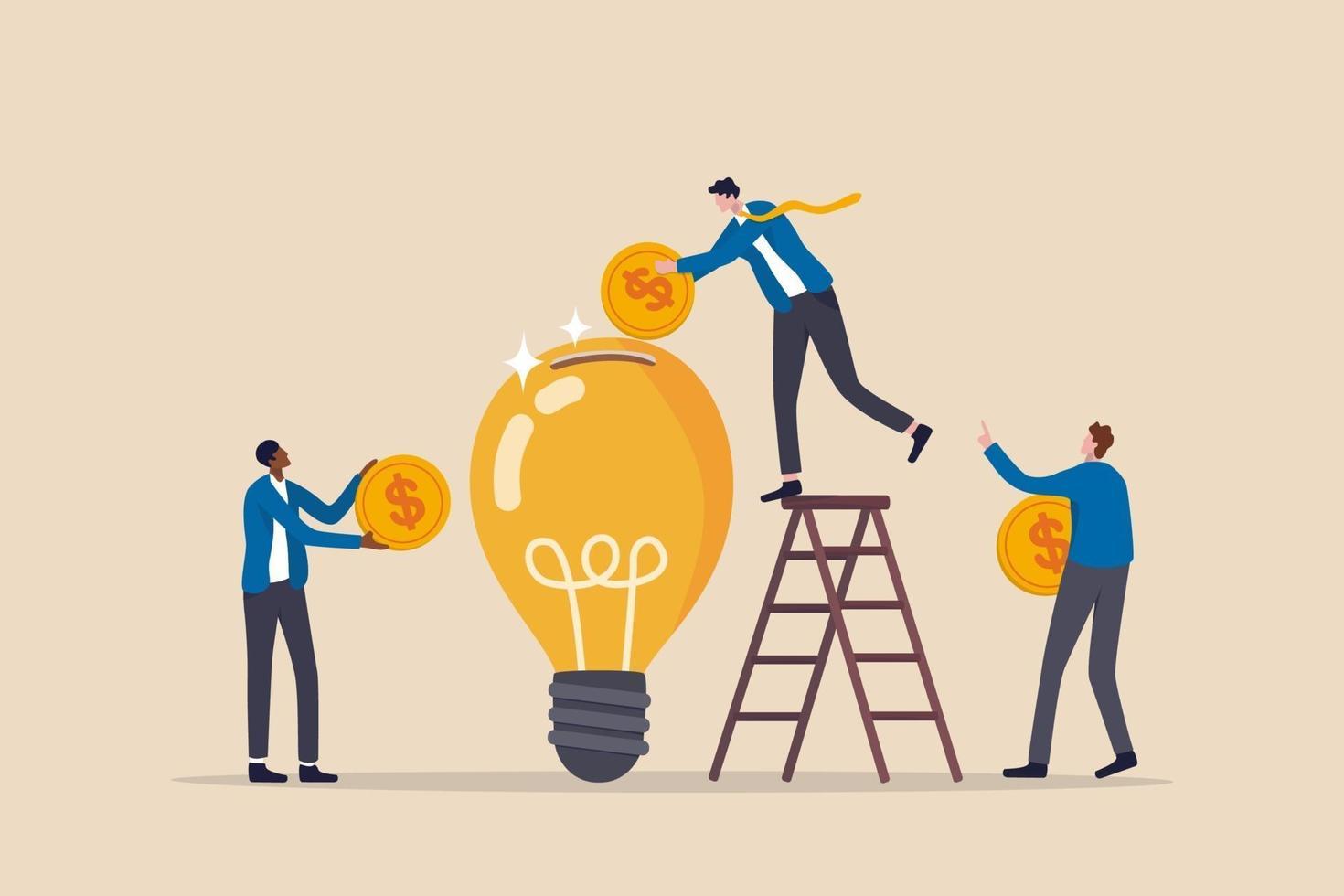Fundraising idea, funding new innovative project, donation vector