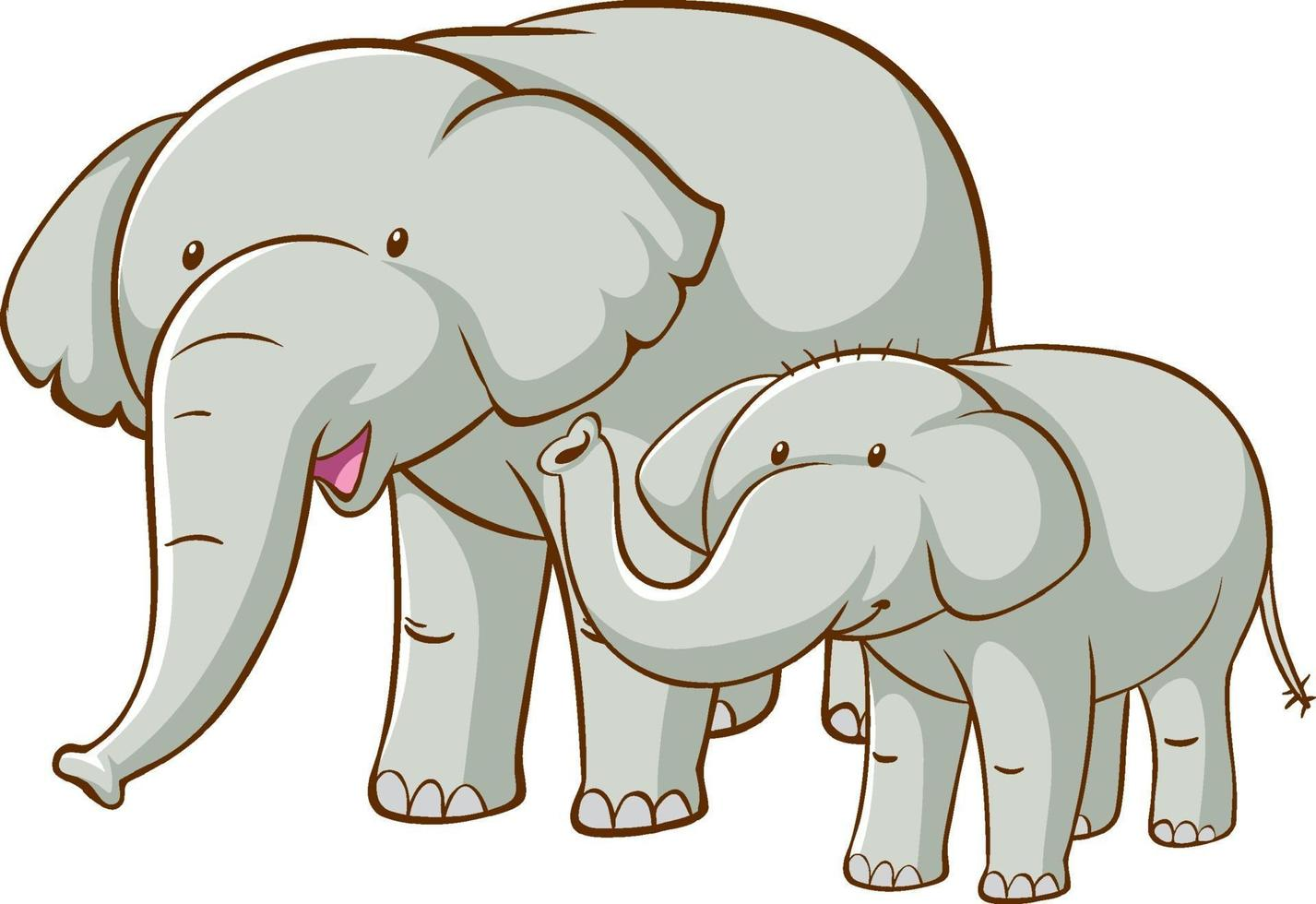 Big and small elephants cartoon on white background vector
