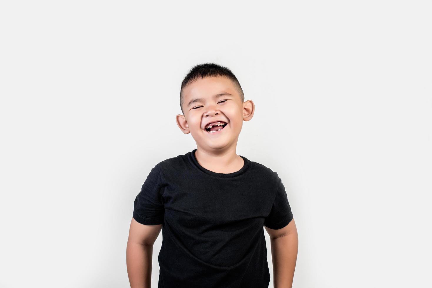 Funny portrait boy studio photo. photo