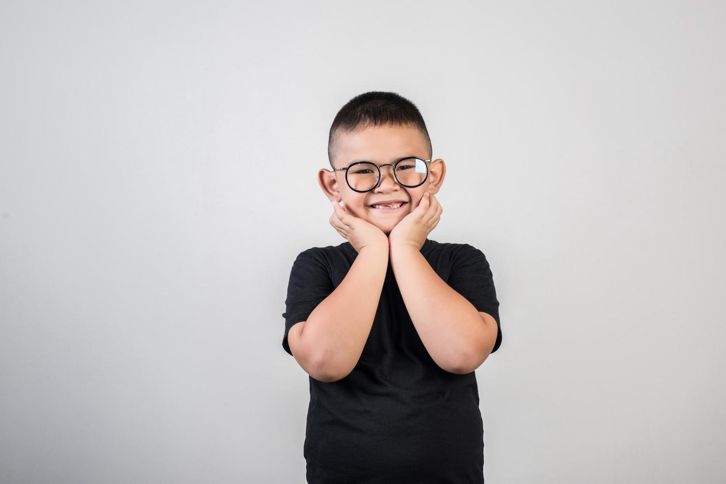 Funny portrait boy studio photo