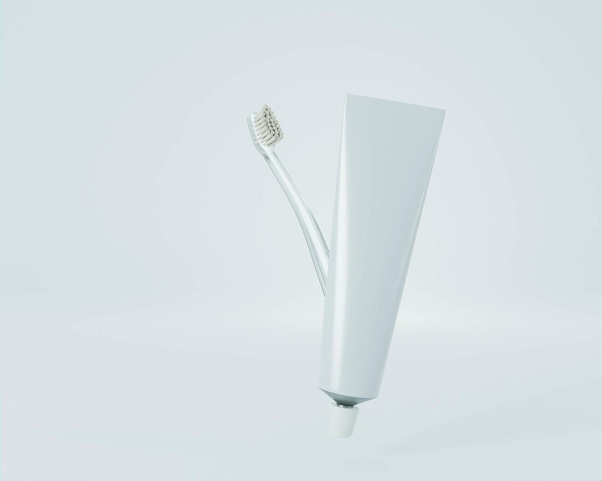 Toothbrush and toothpaste on white background photo