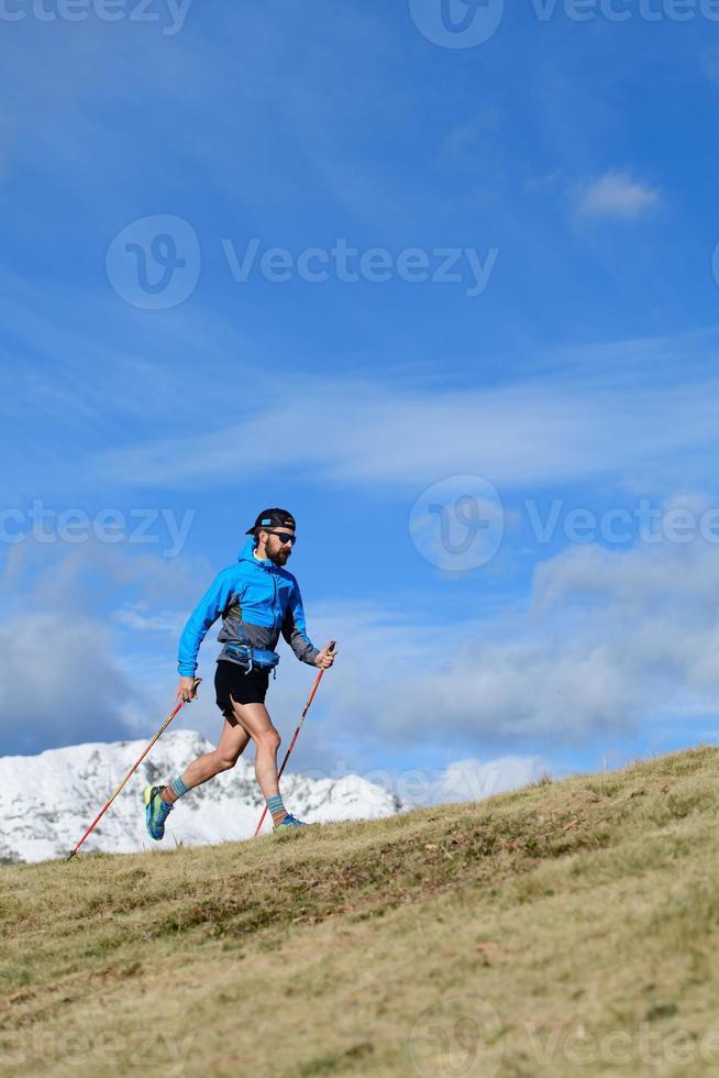 A man trains for ultra run trail photo