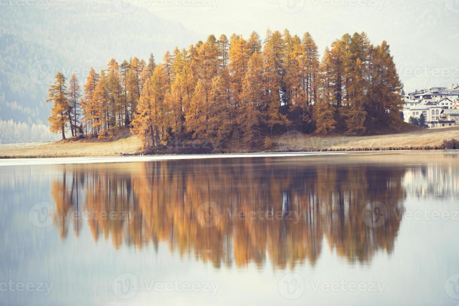 Alerces otoñales se reflejan en el lago alpino foto