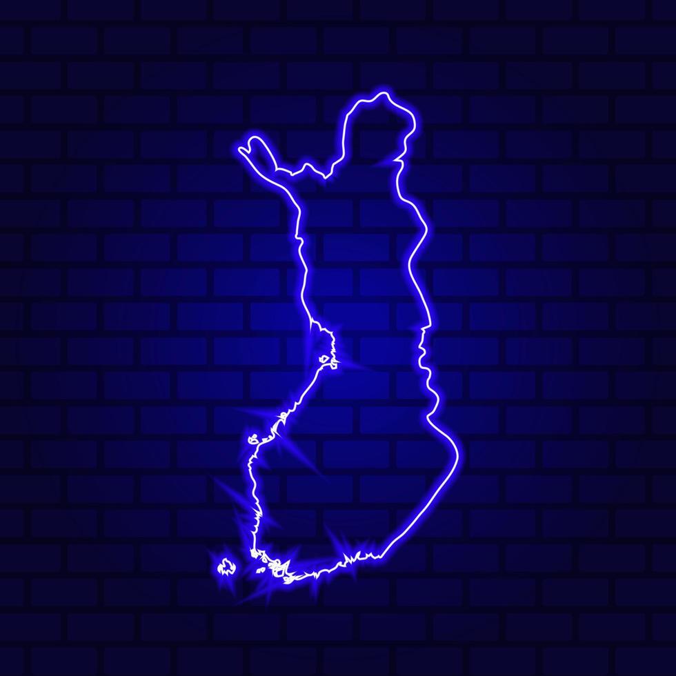 Letrero de neón brillante de Finlandia sobre fondo de pared de ladrillo foto