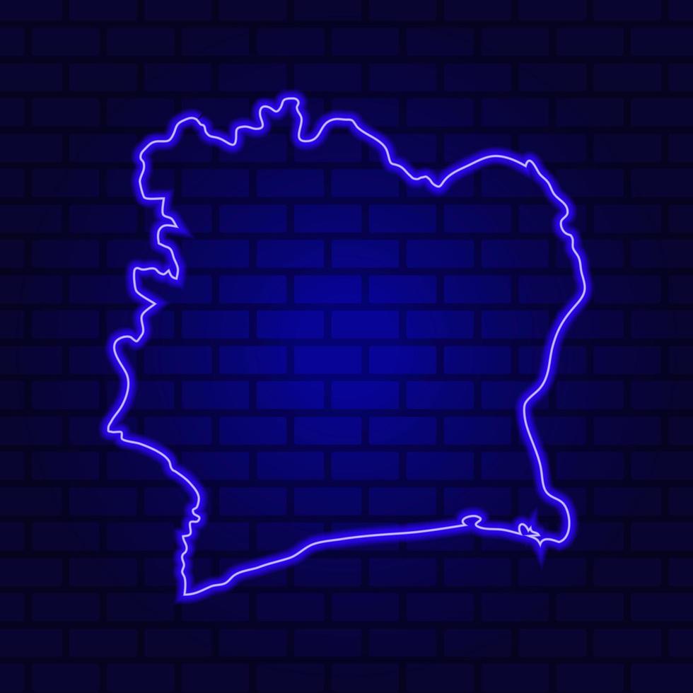 Ivory Coast glowing neon sign on brick wall background photo