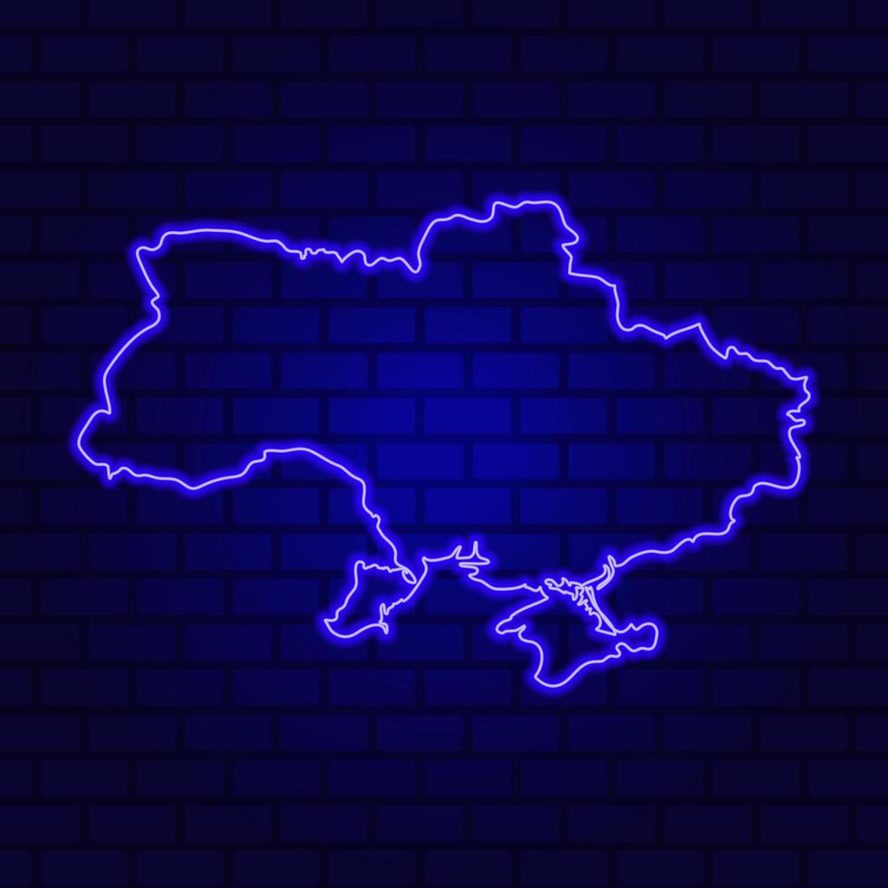 Ukraine glowing neon sign on brick wall background photo
