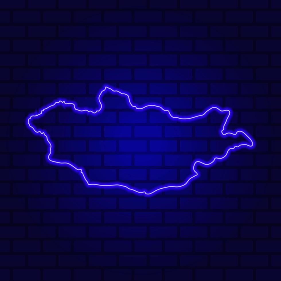 Mongolia glowing neon sign on brick wall background photo
