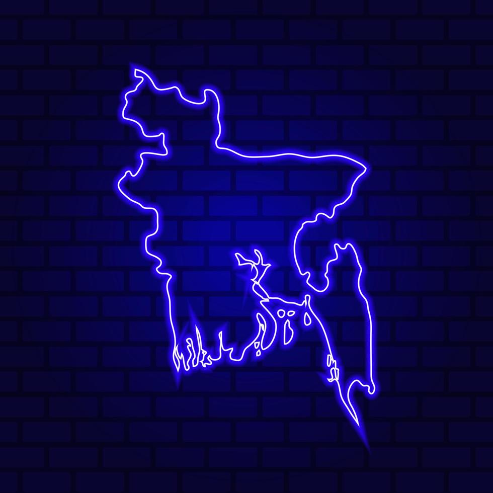 Bangladesh glowing neon sign on brick wall background photo