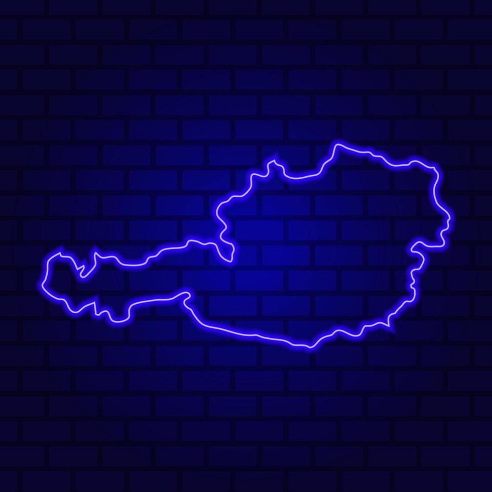 Austria glowing neon sign on brick wall background photo