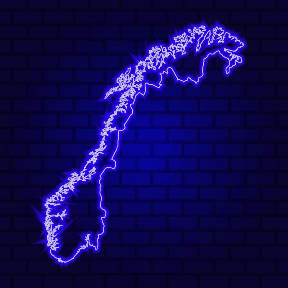 Noruega letrero de neón brillante sobre fondo de pared de ladrillo foto