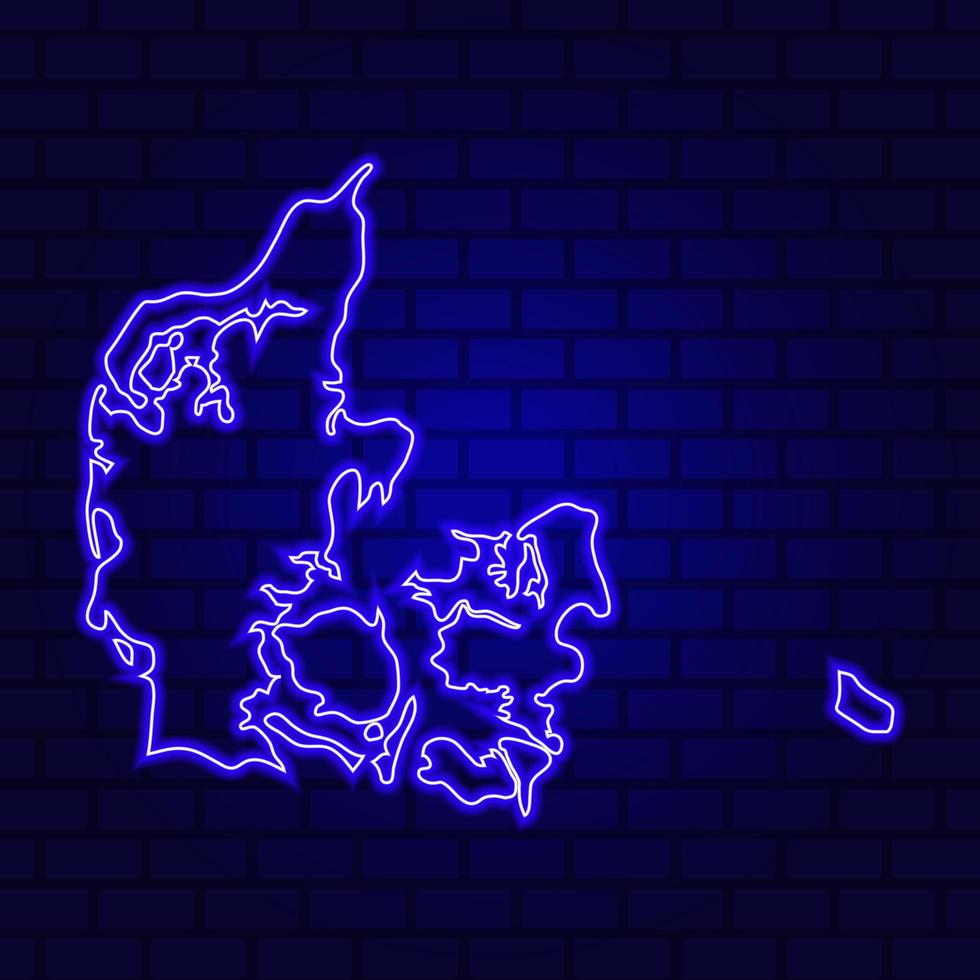 Denmark glowing neon sign on brick wall background photo